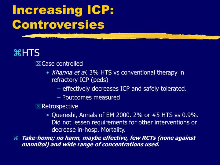 Increasing ICP: Controversies