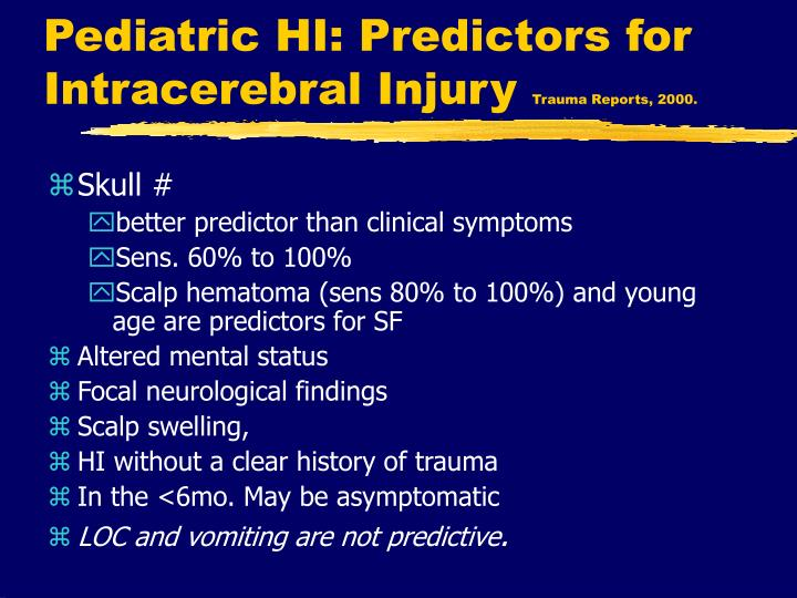 Pediatric HI: Predictors for Intracerebral Injury