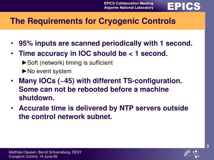 The Requirements for Cryogenic Controls