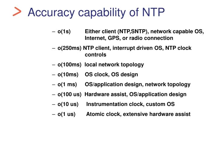 Accuracy capability of NTP