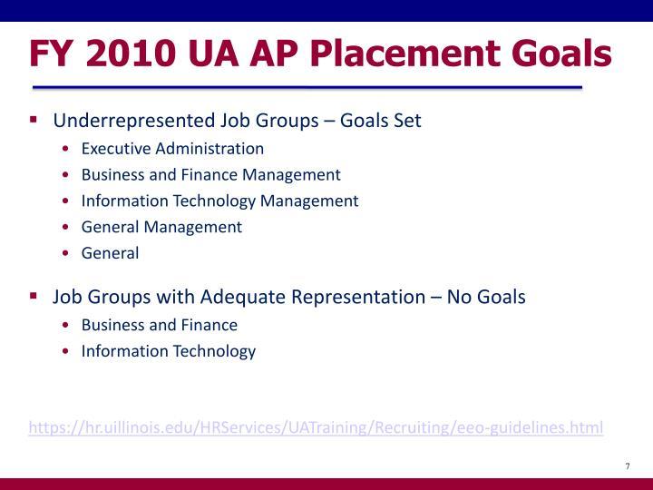 FY 2010 UA AP Placement Goals