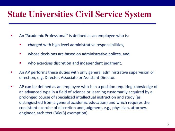 State universities civil service system