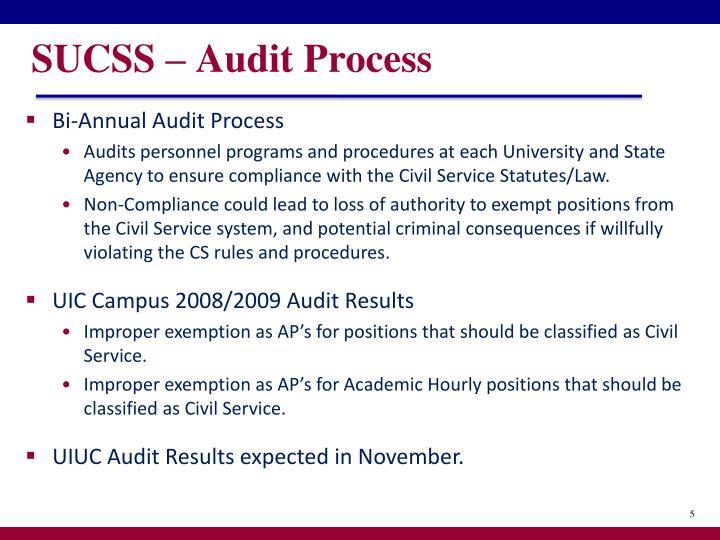 SUCSS – Audit Process