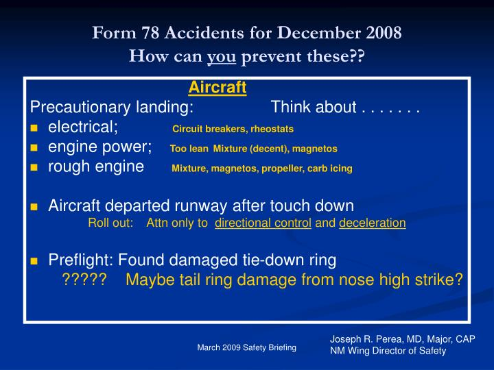 Form 78 Accidents for December 2008