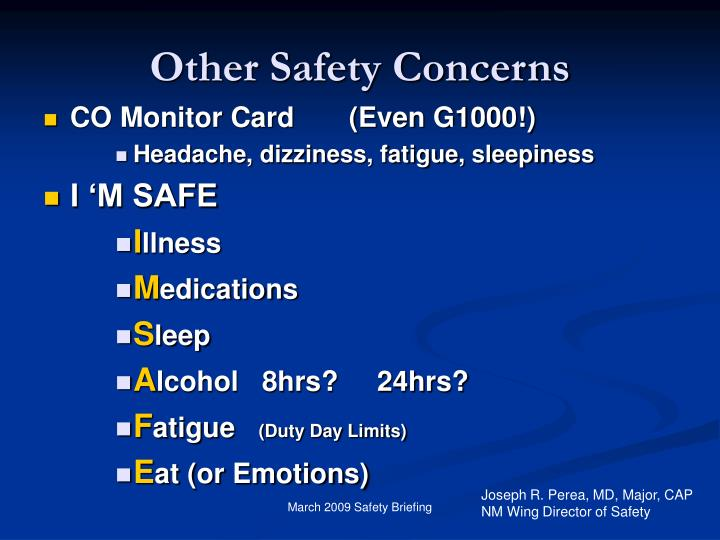 Other Safety Concerns