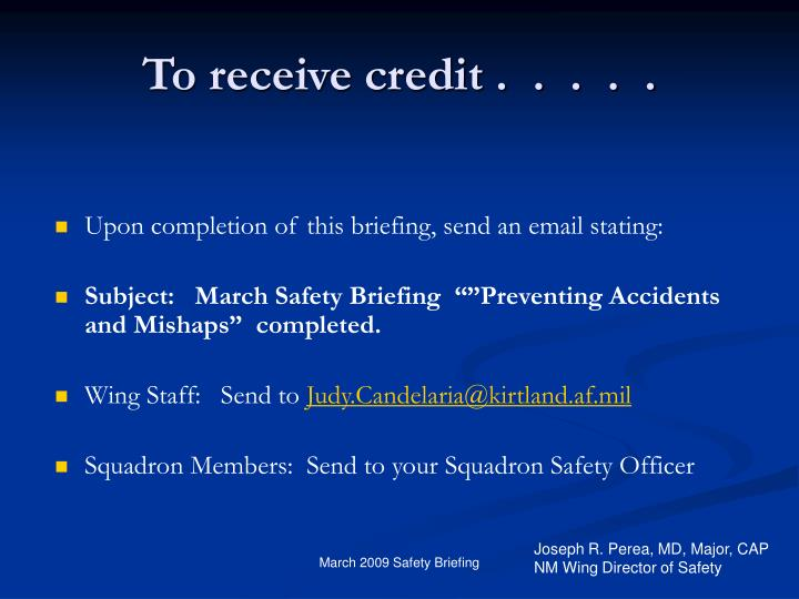 To receive credit .  .  .  .  .