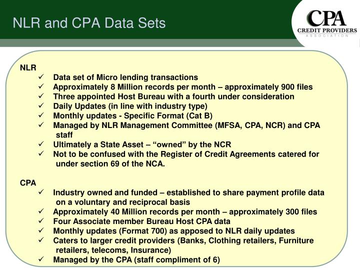 Nlr and cpa data sets