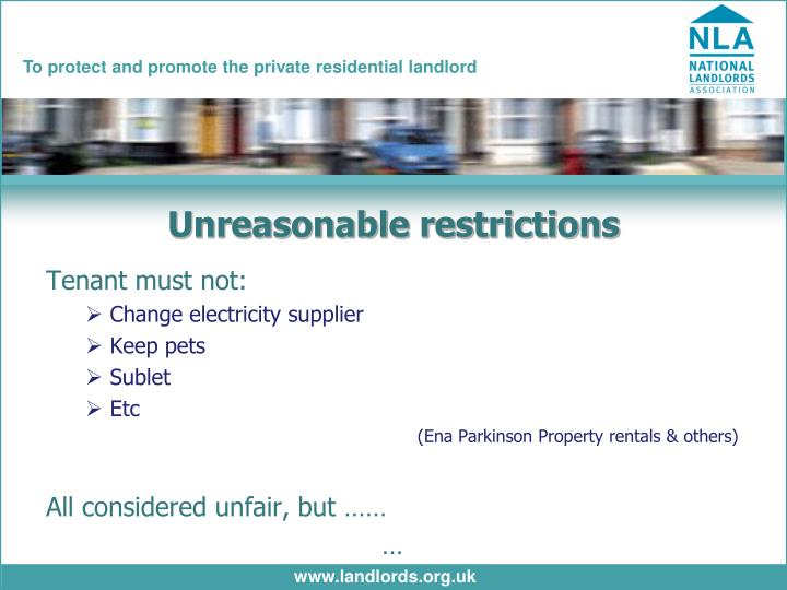 Unreasonable restrictions