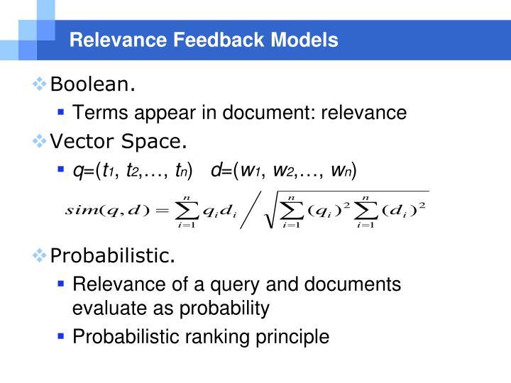 Relevance Feedback Models