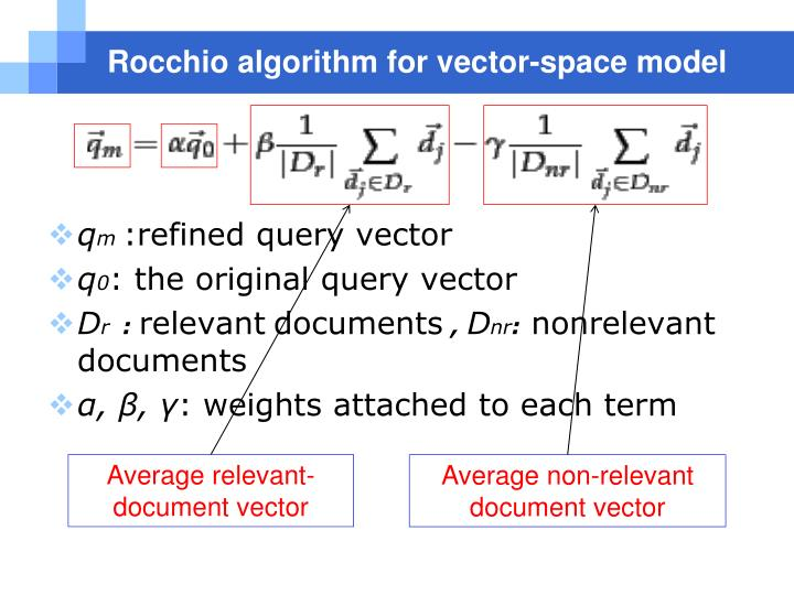 Rocchio algorithm for vector-space model