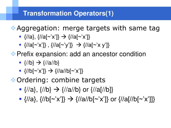 Transformation Operators(1)