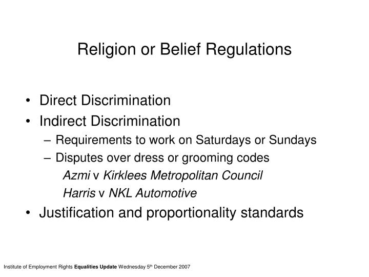 Religion or Belief Regulations