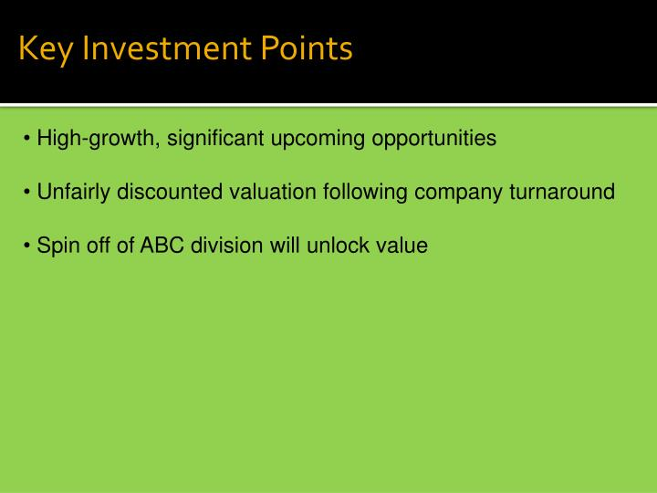 Key Investment Points