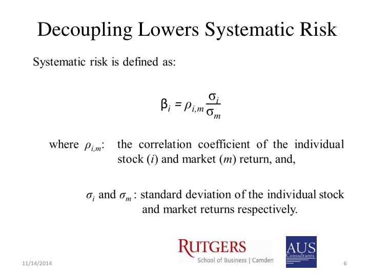 Decoupling Lowers Systematic Risk