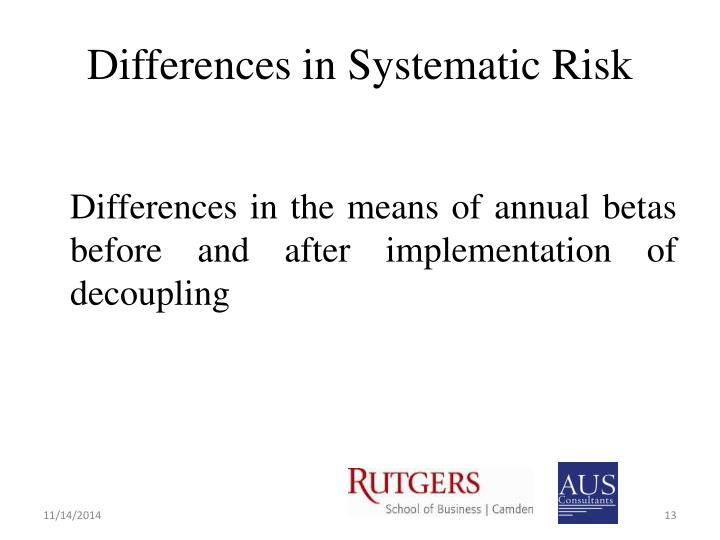 Differences in Systematic Risk