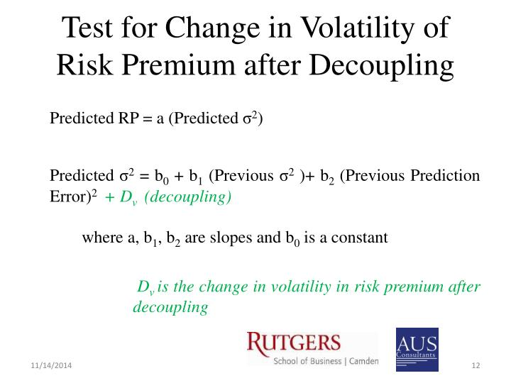 Test for Change in Volatility of Risk Premium after Decoupling
