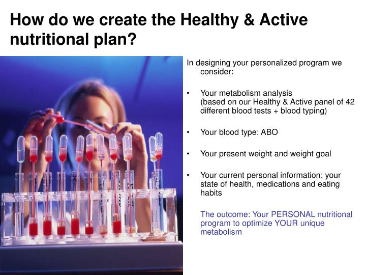 How do we create the healthy active nutritional plan