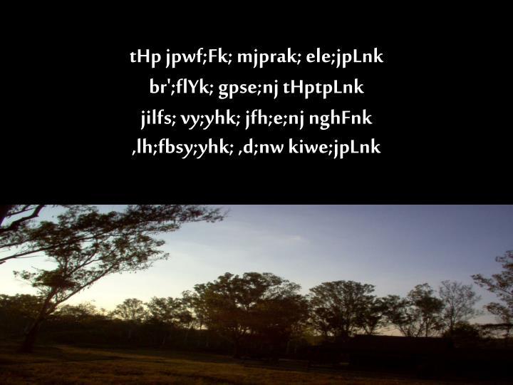 tHp jpwf;Fk; mjprak; ele;jpLnk