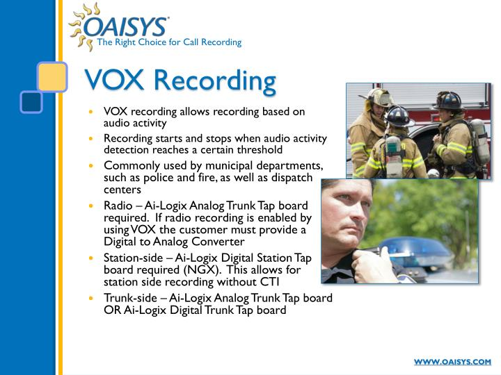 VOX recording allows recording based on audio activity