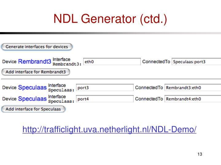 NDL Generator (ctd.)