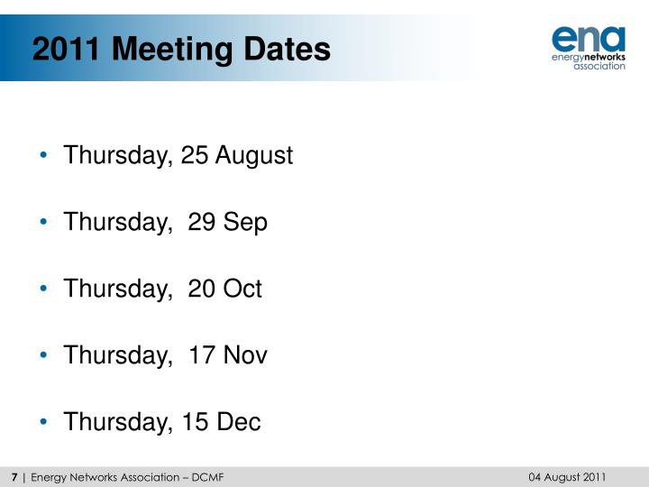 2011 Meeting Dates