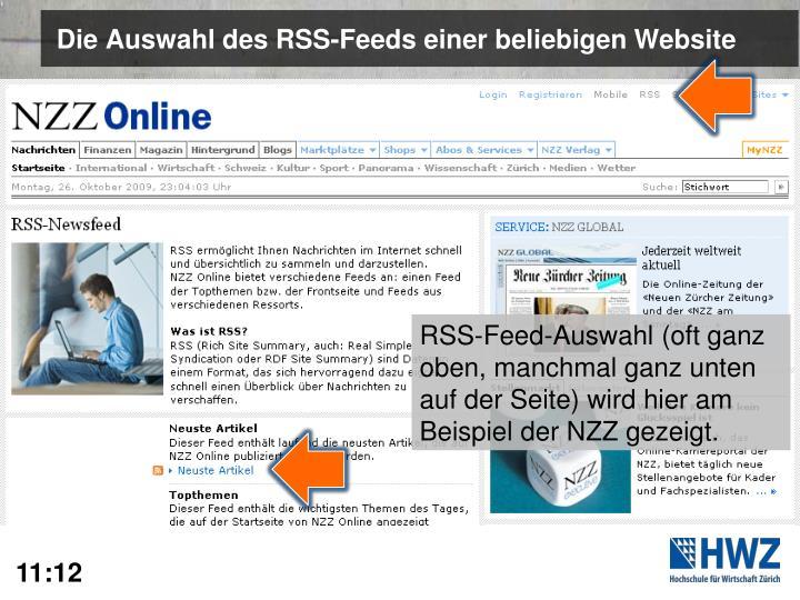 Die Auswahl des RSS-Feeds einer beliebigen Website