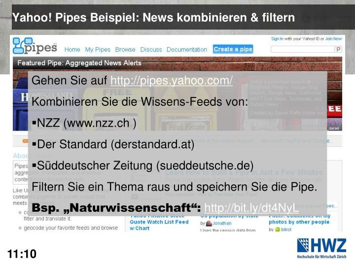 Yahoo! Pipes Beispiel: News kombinieren & filtern