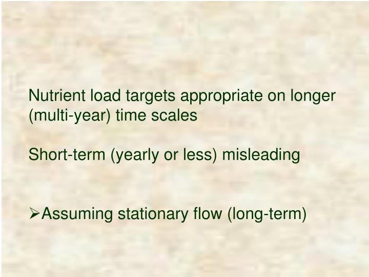 Nutrient load targets appropriate on longer (multi-year) time scales