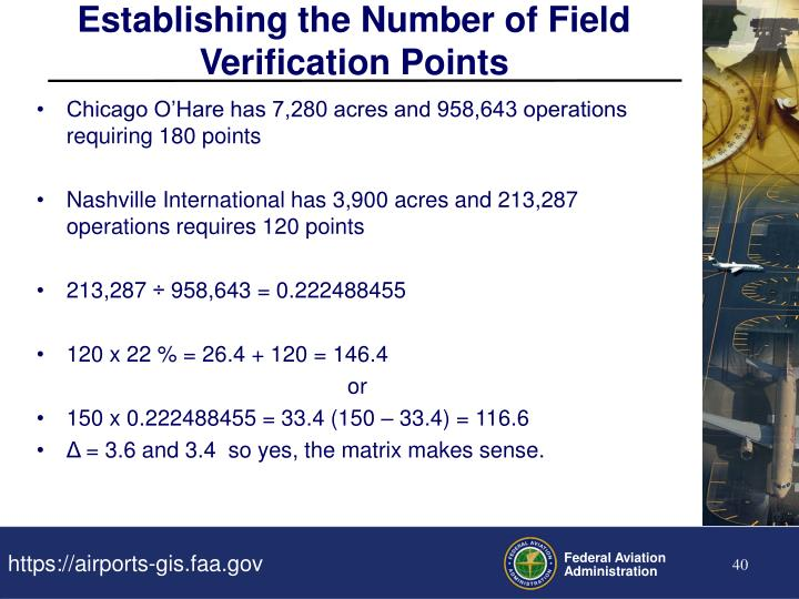 Establishing the Number of Field Verification Points