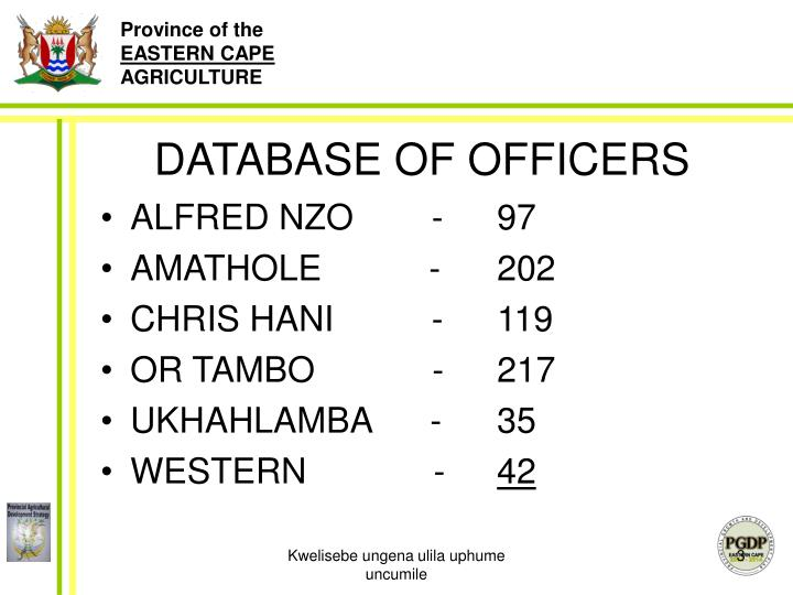 Database of officers