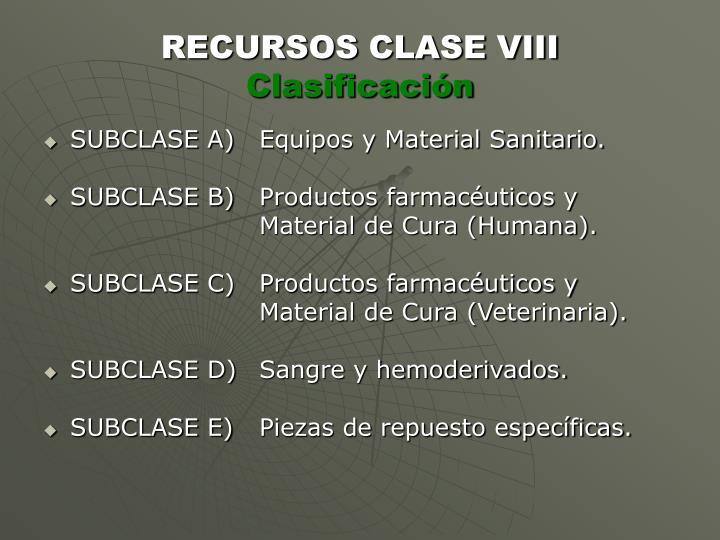 RECURSOS CLASE VIII