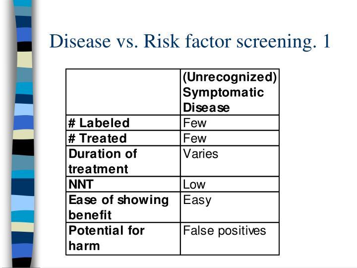Disease vs. Risk factor screening. 1