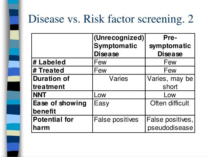 Disease vs. Risk factor screening. 2