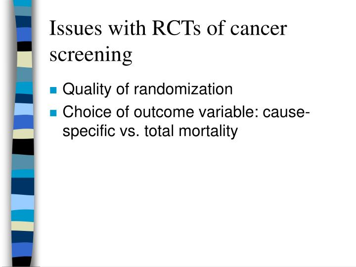 Issues with RCTs of cancer screening