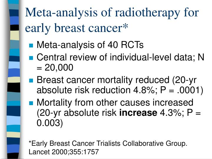 Meta-analysis of radiotherapy for early breast cancer*