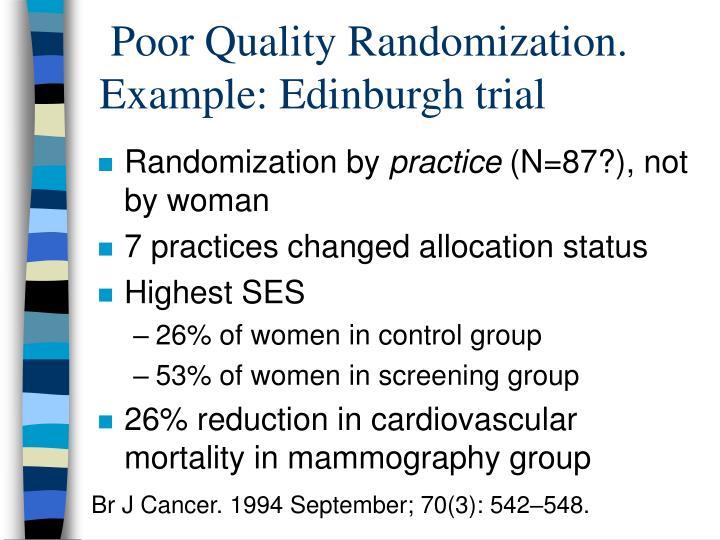 Poor Quality Randomization.  Example: Edinburgh trial