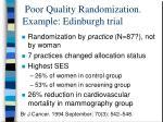 poor quality randomization example edinburgh trial