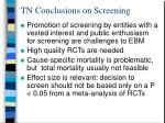tn conclusions on screening