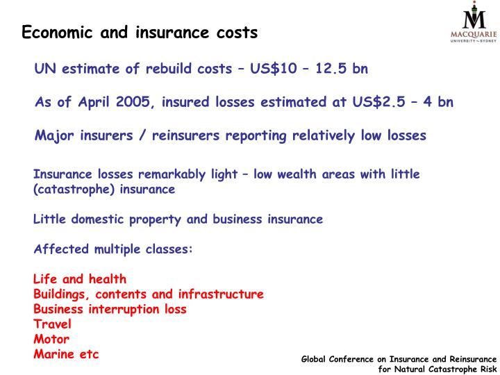 Economic and insurance costs
