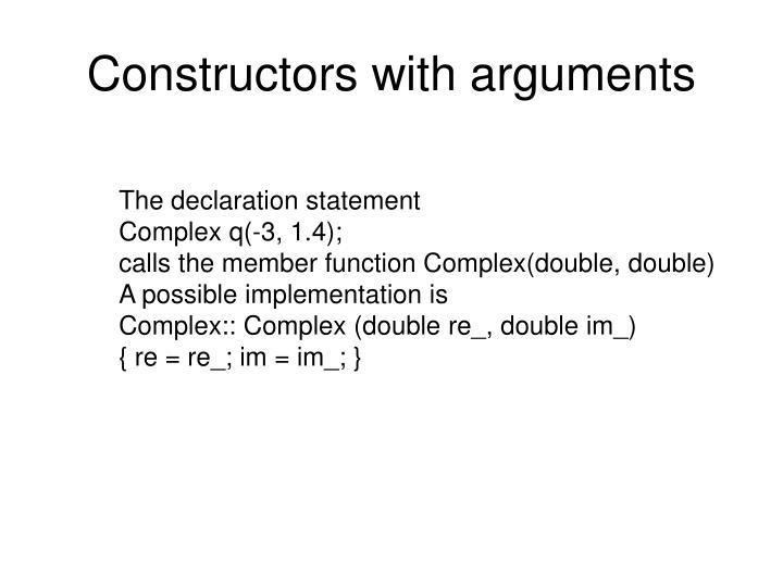 Constructors with arguments