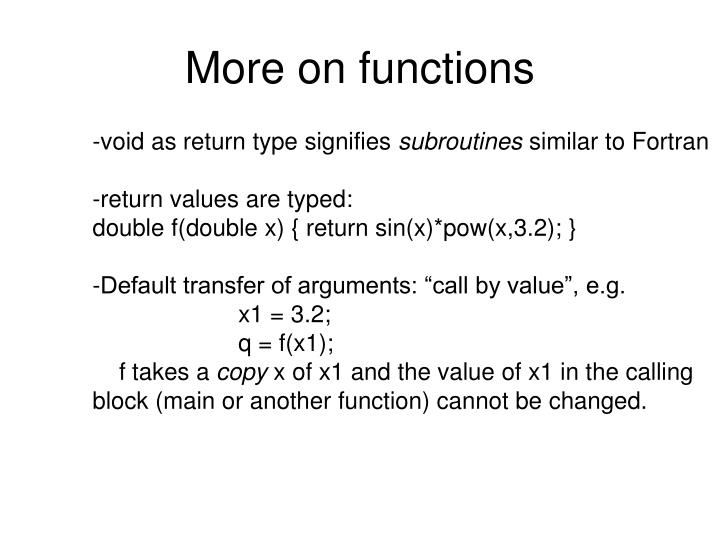 More on functions