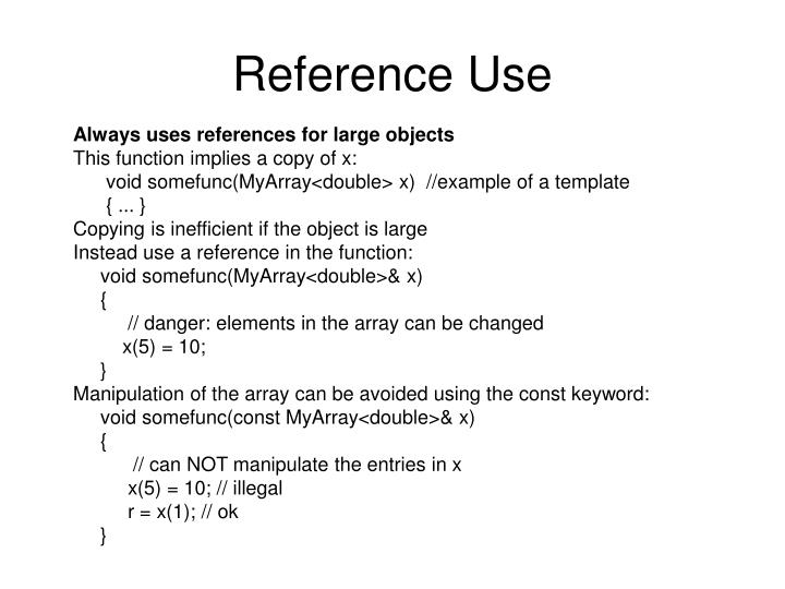 Reference Use