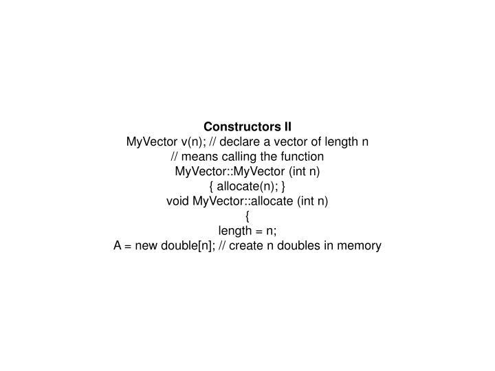 Constructors II