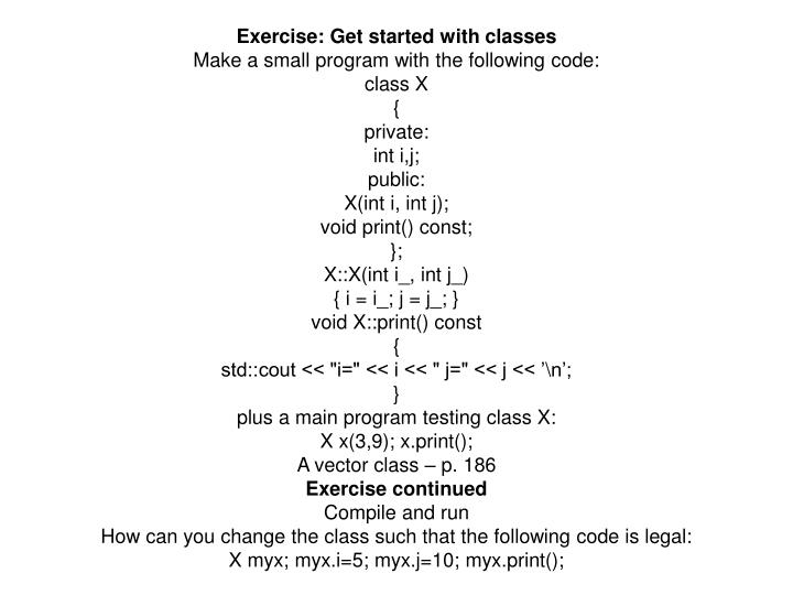 Exercise: Get started with classes