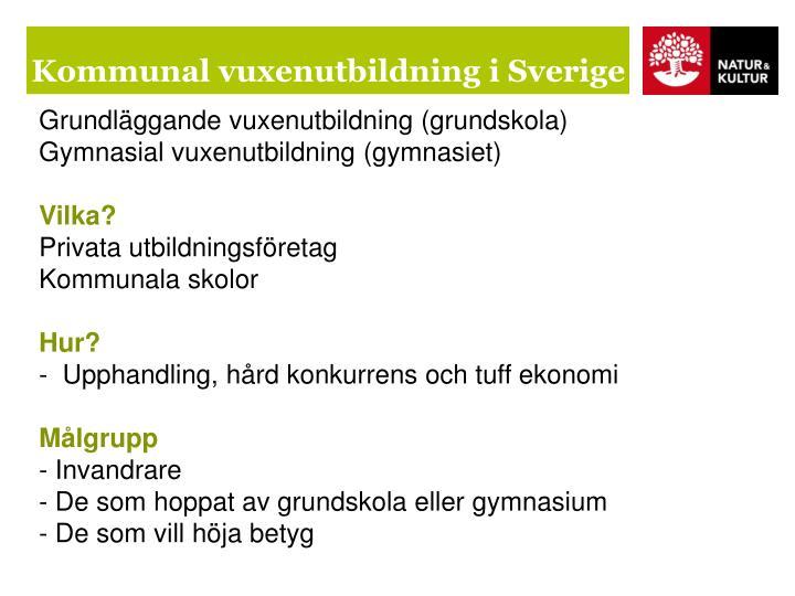 Kommunal vuxenutbildning i Sverige