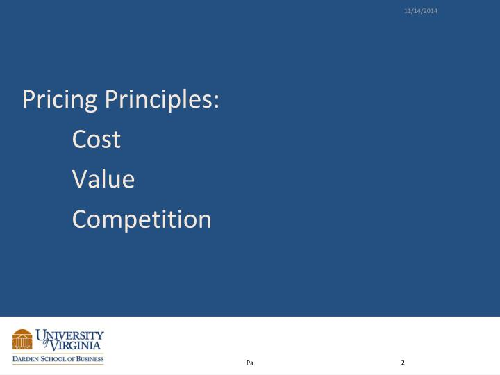 Pricing Principles: