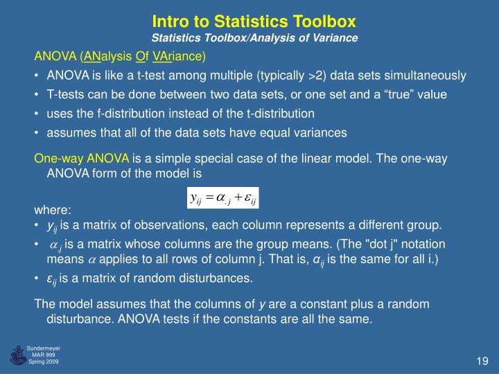 Intro to Statistics Toolbox