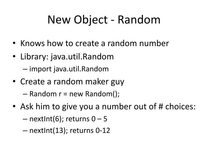 New Object - Random