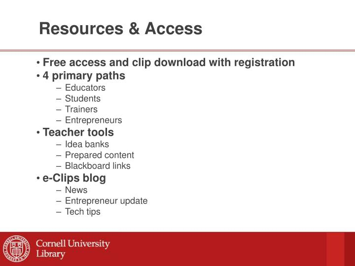 Resources & Access