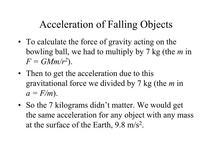 Acceleration of Falling Objects